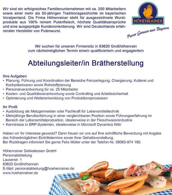 Stellenanzeige - Abteilungsleiter/-in Brätherstellung  http://www.hoehenrainer.de/wp-content/uploads/H%C3%B6henrainer-Stellenanzeige-Abteilungsleiter-Br%C3%A4therstellung_02.pdf