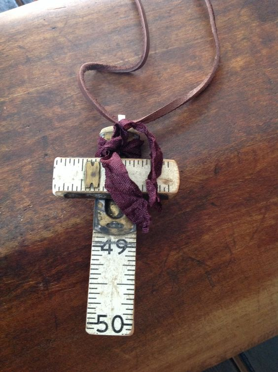 Vintage Necklace - one of a kind cross ruler necklace.