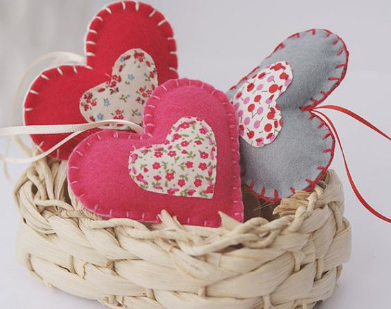 Valentine's hearts decoration - home decor - Set of 3 - pink red grey