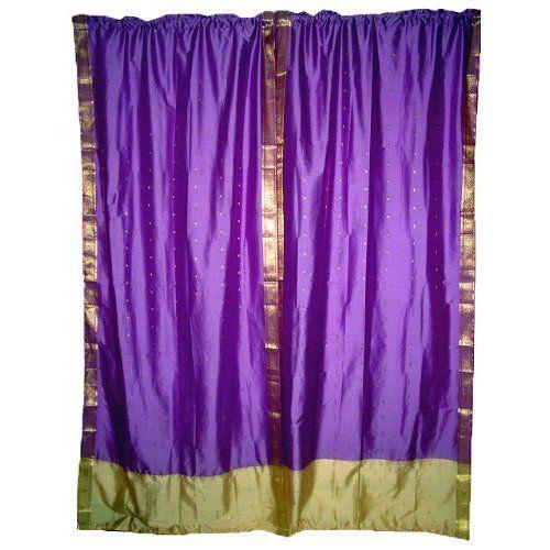 Amazon.com: 2 India Curtains Violet Gold Artsilk Sari Saree ...