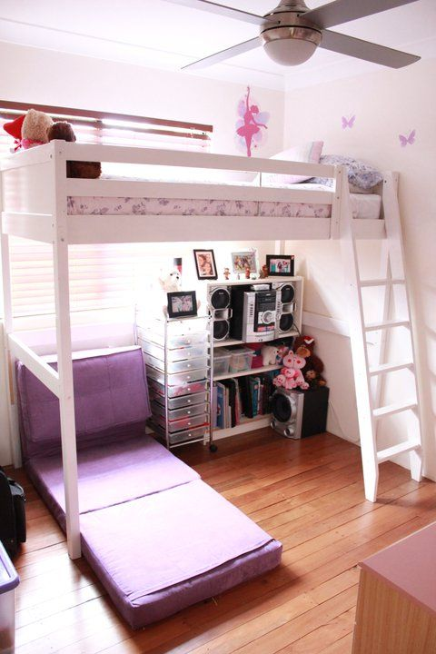 Again my teen daughters bedroom with futon chair opened to for Teenage bunk beds ikea