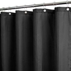 Park B. Smith® Satin Stripe Black 72 x 72 WaterShed® Shower Curtain (w/Hooks) - Bed Bath & Beyond