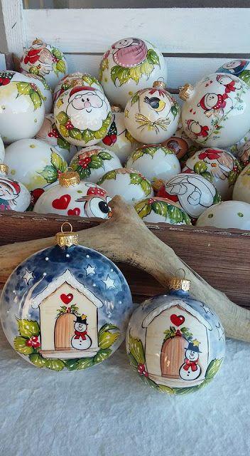 ceramica come mestiere: Palline di Natale in ceramica. Decorate a