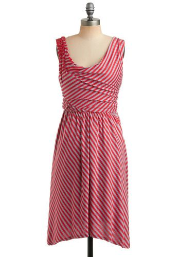 love this dress with radiant red and grey stripes
