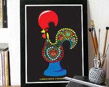 Portugais coq légende Illustration affiche Art en noir - coq de Barcelos, un signe de héros portugais - affiche A3 - de foi et de justice