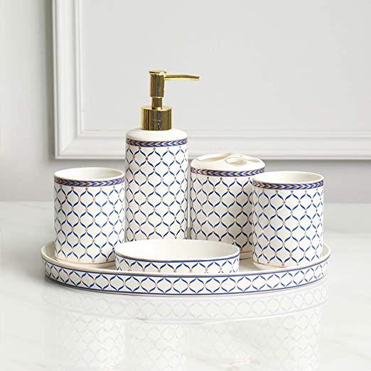 Tellgoy 6 Pcs Bathroom Accessories Luxury Bath Accessory Kit Ceramics Material With Metal Fittings Includes S Ceramic Materials Ceramic Tray Bath Accessories