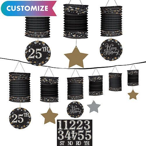 Celebrate 60th Birthday Lantern Garland Decorations ~ Adult Party Supplies Favor