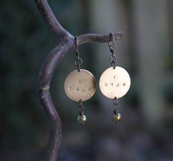 """This morning, I'm thinking of these words: """"Hope is the thing with feathers   That perches in the soul,   And sings the tune--without the words,   And never stops at all..."""" Emily Dickinson :: i hope soul mantra earrings"""