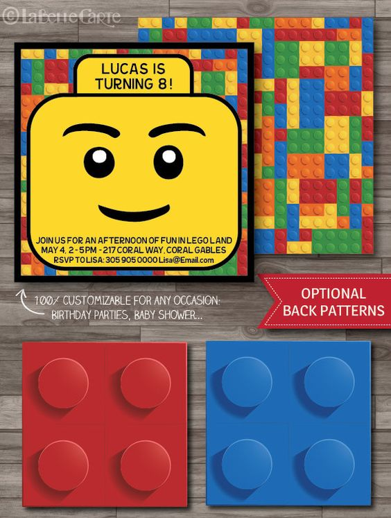 Lego Invitation, Lego Party, Lego Birthday Party Invitations, Lego Movie Party Invitations - DIGITAL PRINTABLE FILE