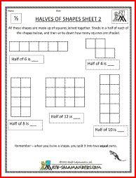 math worksheet : halves of shapes a printable fraction worksheet to shade half of  : Fraction Worksheets Ks1