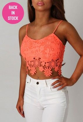 Rita Neon Coral Crochet Crop Top