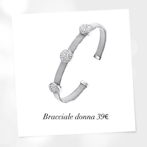 Bracciale in acciaio con elementi in resina e cristalli bianchi. #lucabarragioielli #braccialedonna #bangle #woman #collection