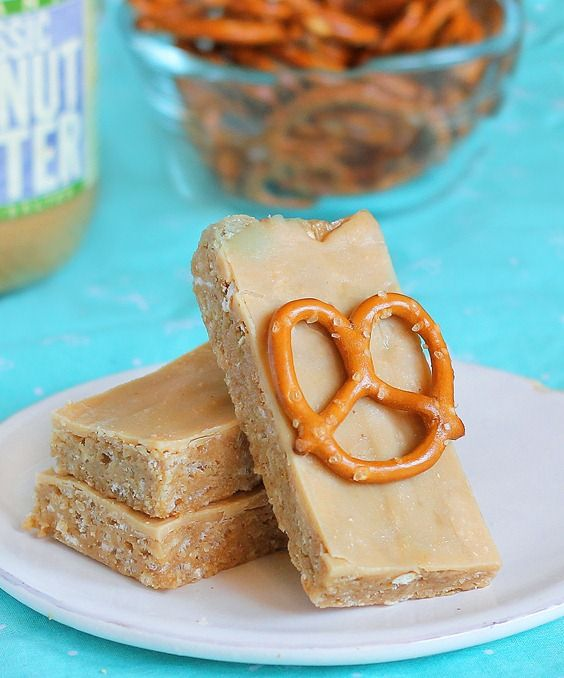 No-Bake Peanut Butter Pretzel Bars: these bars are really easy to make, and they taste much better than storebought energy bars.