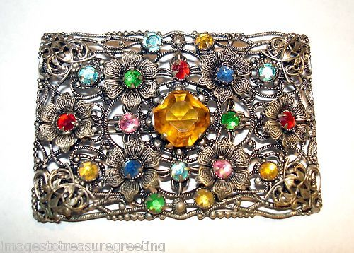 Czech coloured glass & pressed metal oblong brooch