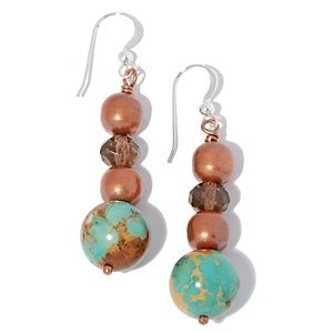 Jay King Turquoise and Smoky Quartz Copper Drop Earrings   HSN Price:$49.90  Appraised Value: $83.00