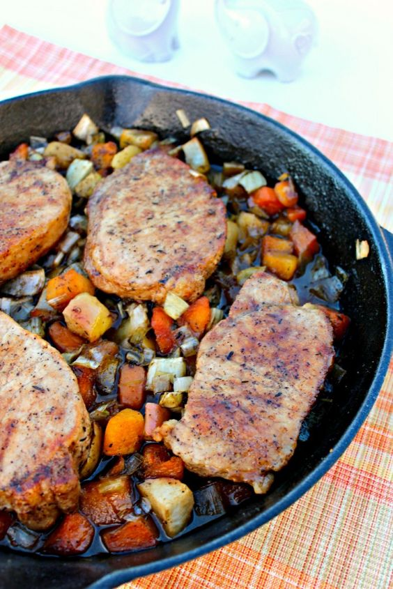 ... pork chops oven roasted with apples, leeks, fennel, and butternut