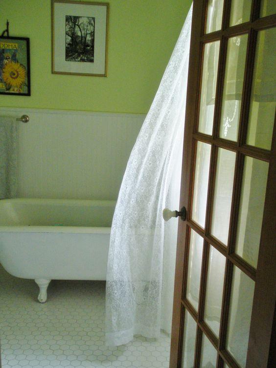 Summer breeze in our honeydew colored bathroom.