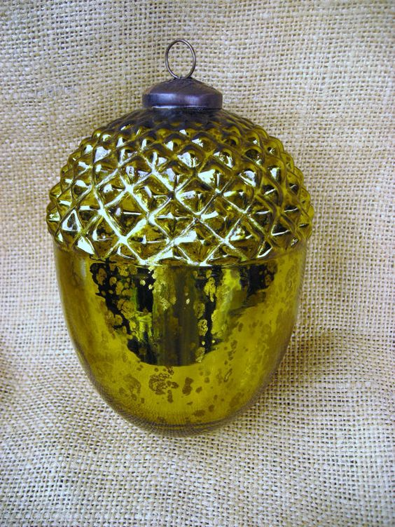 Antique mercury glass ornament acorn chartreuse green for How to make acorn ornaments