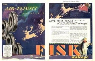 1929 Air Flight fisk tire ad. The Saturday Evening Post.