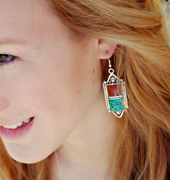 Coral and Turquoise Sherpa Earrings - Dharmashop.com