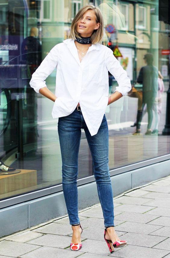 #1: White Button-Down Shirt + Blue Jeans