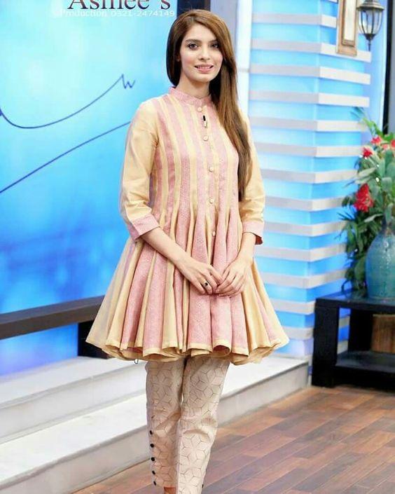 Stitching Styles Of Pakistani Dresses Pink Peplum Frock