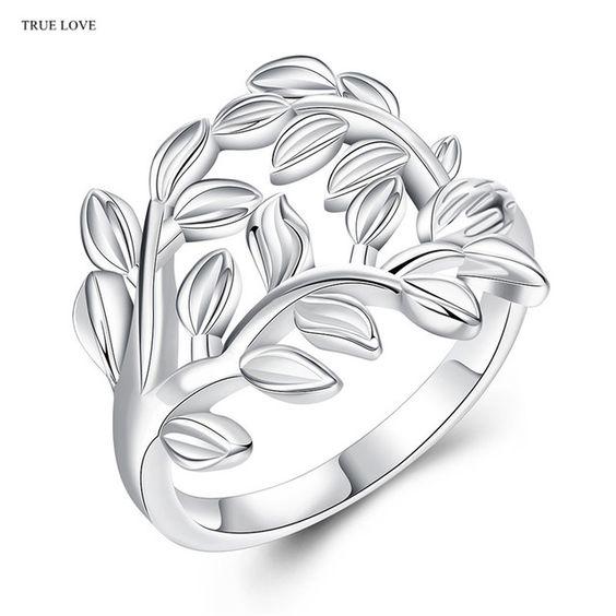 Forma de la planta de moda de plata anillo de dedo tamaño 7 #8 # estilo de la calle de la joyería para las mujeres el envío libre…