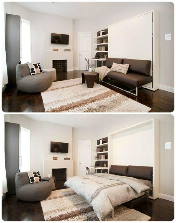 Departamento 21 m2. Muebles doble uso. sofa-cama-convertible