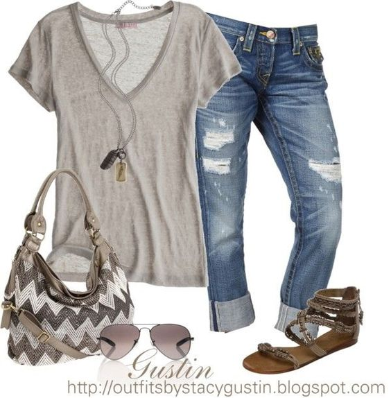 Need a long, pendent style necklace to pull together these kinds of outfits. Also need another pair of boyfriend jeans and some basic t-shirts in neutral colors.: