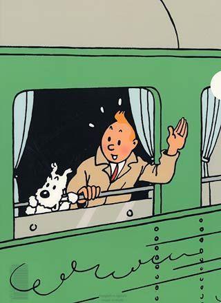 鉄道の車窓から手を振るタンタンの画像
