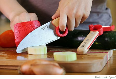 Brilliant-- teach proper knife skills and safety early on!! Cooking tools for kids: Opinel Le Petit Chef Set