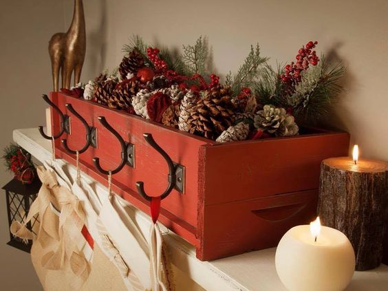 "Nifty idea for an old or new drawer. Doesn't need to be Christmas - could be a storage box on a bedroom shelf with hooks on it for ""stuff""--perfect for hanging stockings where can't or don't want to put tacks or nails."