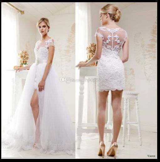 Detachable Two Pieces Wedding Dresses A Line Tulle Wedding Dress Bridal Gown In Cloth Convertible Wedding Dresses Detachable Wedding Dress Wedding Dresses Lace