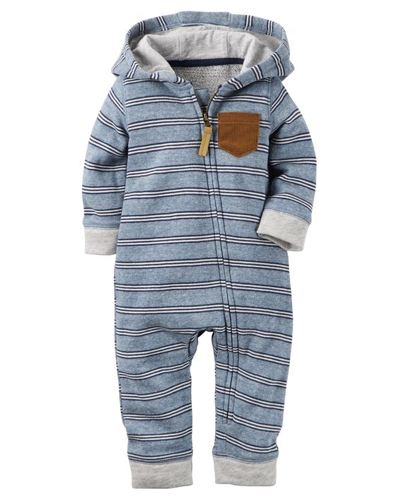 So comfy for your baby boy, this striped terry jumpsuit is a go-to 1-piece outfit for easy dressing and quick changes.