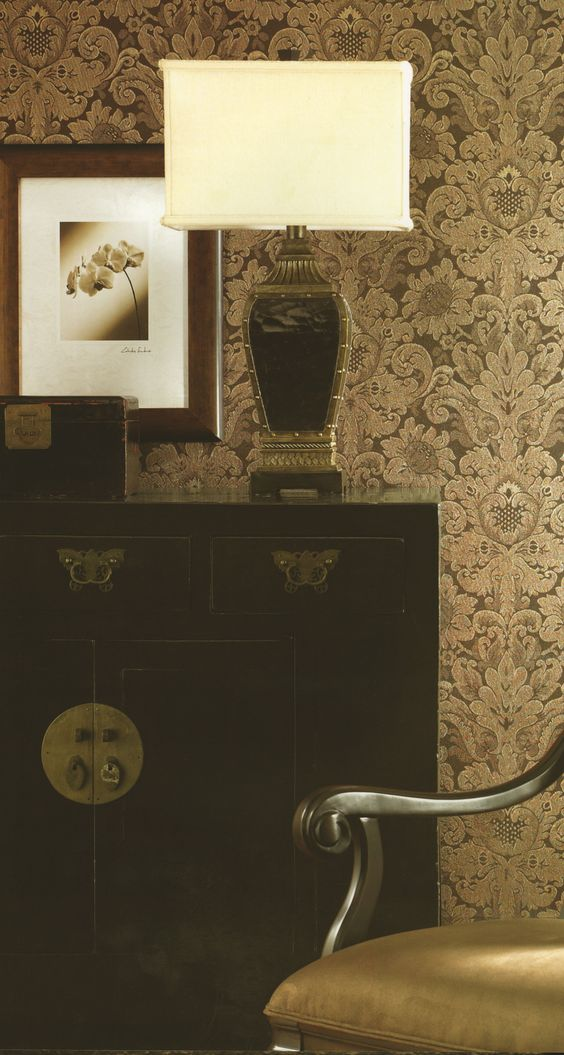 This beautiful gold damsk wallpaper is new from the Dynasty Foils Collection. Find it at AmericanBlinds.com