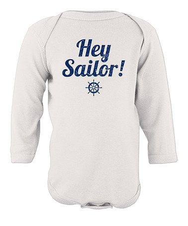 White 'Hey Sailor!' Long Sleeve Bodysuit - Infant by American Classics
