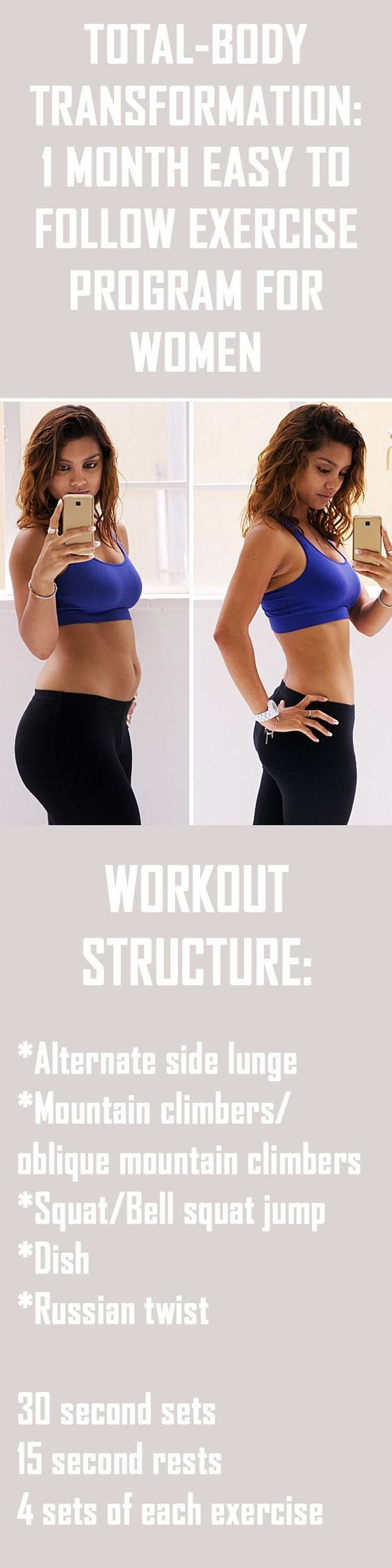 Total Body Transformation: 1 Month easy to follow exercise program for women