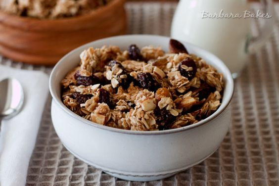 Crispy granola clusters with shredded coconut, almonds and three kinds of plump juicy raisins made with heart healthy coconut oil.