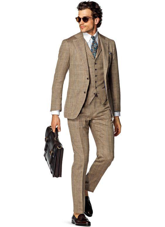Light Brown Plaid Men Suit Mens Suits Suits Brown Suits