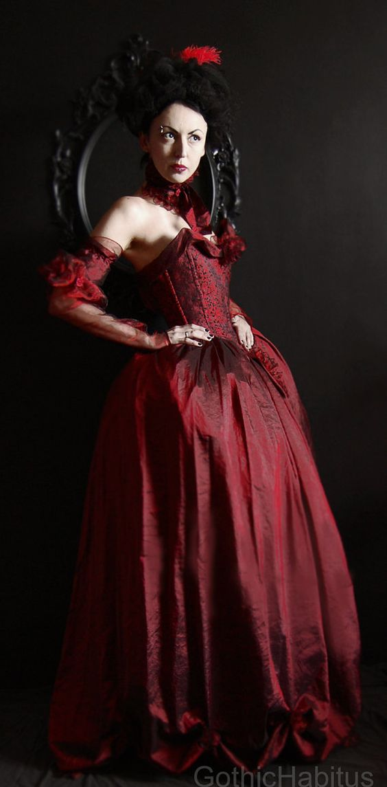 Rococo dress in red by CARACLOVIS on Etsy