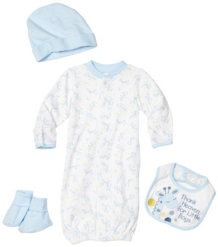 Babyworks 4 Piece Layette Set (Convertible Gown, Booties, Bib And Cap)
