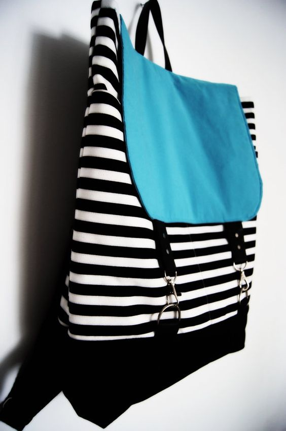 Backpack  Black and White Striped/ Neon colors /  leather/ cotton/ Laptop Backpack