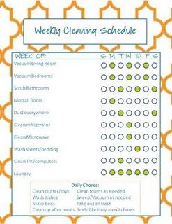 Cleaning Schedule Printables