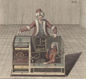El famoso jugador de ajedrez autómata « El Turco », grabado de 1789