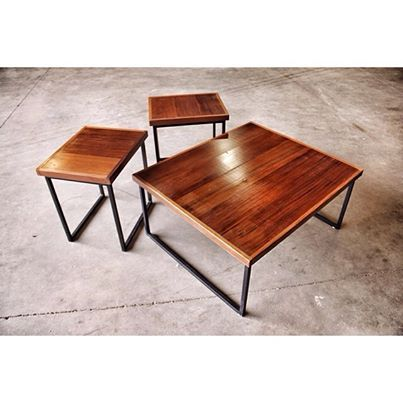 Doyle Coffee Table And Matching End Tables Solid Steel Square Tube Frame With Reclaimed Redwood