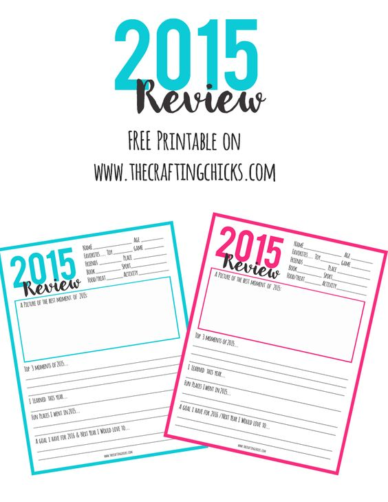 New Year Printable - 2015 End of Year Review.  Record your favorite moments, what you learned, places you went and your goals for the New Year!