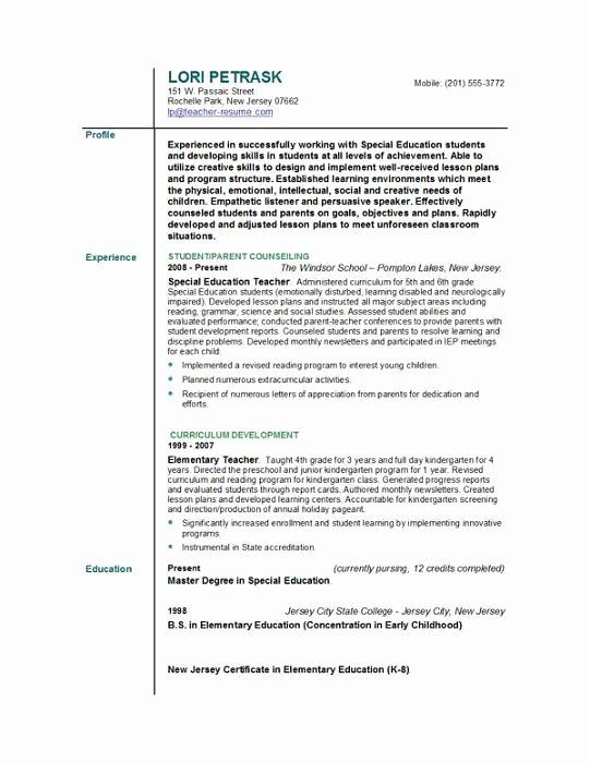 Special Education Teacher Resume Examples Beautiful Special Education Teacher Resu In 2020 Teacher Resume Examples Teacher Resume Template Free Teacher Resume Template