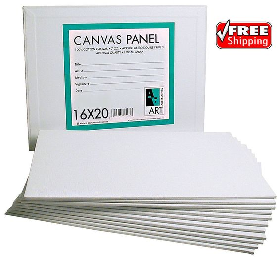 Canvas Panel 16 x 20 Mounted Cotton Artist Primed Acrylic Gesso Painting Pack 6 #ArtAlternatives