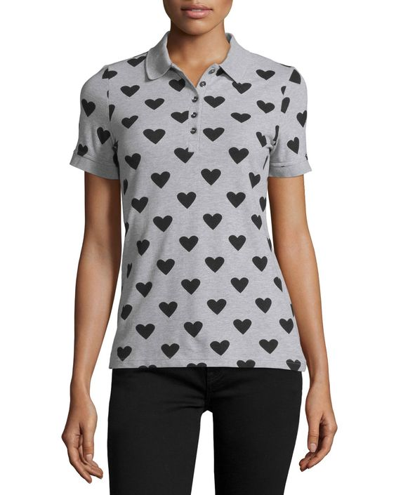 Heart Polo Shirt, Pale Gray Melange/Black