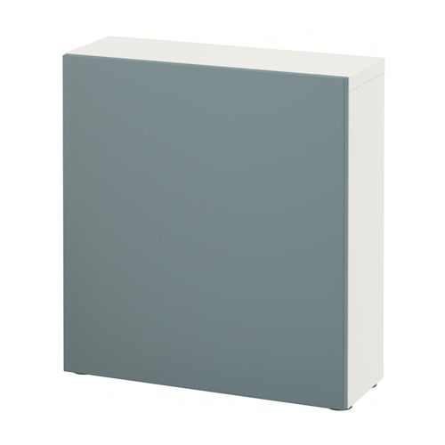"BESTÅ Shelf unit with door - white/Valviken gray-turquoise, 23 5/8x7 7/8x25 1/4 "" - IKEA"